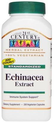 21st Century, Echinacea Extract, 200 Veggie Caps ,والمكملات الغذائية، والمضادات الحيوية، كبسولات إشنسا أقراص