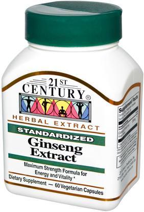 21st Century, Ginseng Extract, 60 Veggie Caps ,المكملات الغذائية، أدابتوغين، الانفلونزا الباردة والفيروسية، الجينسنغ