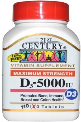 21st Century Maximum Strength D3 5000 Iu 110 Tablets الفيتامينات فيتامين D3