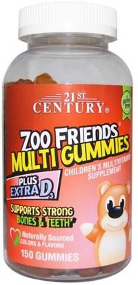 21st Century, Zoo Friends Multi Gummies, Childrens Multivitamin Supplement, 150 Gummies ,الفيتامينات، الفيتامينات المتعددة، الأطفال الفيتامينات، منتجات حساسة للحرارة