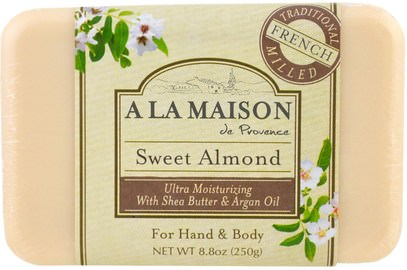 A La Maison de Provence, Hand & Body Soap, Sweet Almond, 8.8 oz (250 g) ,حمام، الجمال، حمام أرجان، الصابون