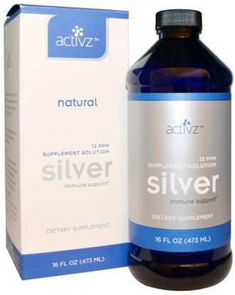 Activz, Silver Immune Support, 12 PPM, 16 fl oz (473 ml) ,المكملات الغذائية، المعادن، المعادن السائلة، هدروسول الفضة