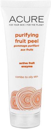 Acure Organics, Purifying Fruit Peel, 1.4 fl oz (41 ml) ,الجمال، أقنعة الوجه، حب الشباب، أقنعة عيب