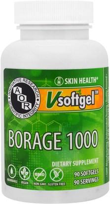 Advanced Orthomolecular Research AOR, Borage 1000, 90 Softgels ,المكملات الغذائية، إيفا أوميجا 3 6 9 (إيبا دا)، بوريج النفط، الصحة، الجلد