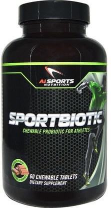 AI Sports Nutrition, Sportbiotic, Chocolate Flavor, 60 Chewable Tablets ,المكملات الغذائية، البروبيوتيك، استقرت البروبيوتيك