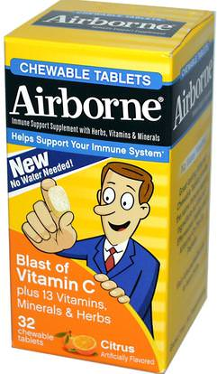 AirBorne, Blast of Vitamin C, Citrus, 32 ChewableTablets ,والصحة، والانفلونزا الباردة والفيروسية، ونظام المناعة