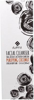Alaffia, Facial Cleanser, Purifying Coconut, 3.4 fl oz (100 ml) ,الجمال، العناية بالوجه، منظفات الوجه