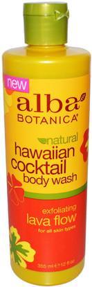 Alba Botanica, Hawaiian Cocktail, Body Wash, Exfoliating Lava Flow, 12 fl oz (355 ml) ,حمام، الجمال، هلام الاستحمام، الدعك الجسم