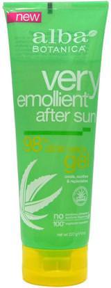 Alba Botanica, Very Emollient, After Sun, 98% Aloe Vera Gel, 8 oz (227 g) ,حمام، الجمال، غسول الجسم، الألوة فيرا كريم محلول هلام