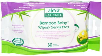 Aleva Naturals, Bamboo Baby Wipes, 30 Wipes ,صحة الطفل، حفاضات، مناديل الطفل