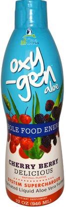 All One, Nutritech, Oxy-Gen Aloe, Oxygenated Liquid Aloe Vera Formula, Cherry Berry, 32 oz (946 ml) ,المكملات الغذائية، الألوة فيرا، سائل الألوة فيرا، مكملات الأكسجين
