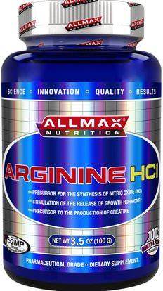 ALLMAX Nutrition, 100% Pure Arginine HCI Maximum Strength + Absorption, 3.5 oz (100 g) ,المكملات الغذائية، والأحماض الأمينية، ل أرجينين، والرياضة، تجريب
