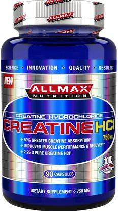 ALLMAX Nutrition, 100% Pure Creatine HCI, 60% Greater Creatine Absorption, 750 mg, 90 Capsules ,الرياضة، الكرياتين