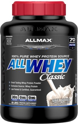 ALLMAX Nutrition, AllWhey Classic, 100% Whey Protein, Unflavored, 5 lbs. (2.27 kg) ,رياضات