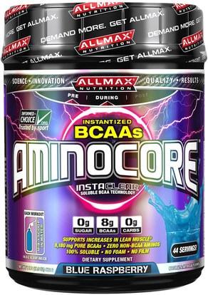 ALLMAX Nutrition, Aminocore, BCAA Max Strength, 8G Branched Chain Amino Acid, Gluten Free, Blue Raspberry, 1 lbs. (462 g) ,رياضات