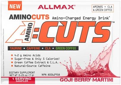 ALLMAX Nutrition, AMINOCUTS (ACUTS), BCAA + Taurine + CLA + Green Coffee, Goji Berry Martini, Trial Size, 0.25 oz (7 g) ,المكملات الغذائية، والأحماض الأمينية، بكا (متفرعة سلسلة الأحماض الأمينية)
