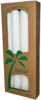 Aloha Bay, Palm Wax Taper Candles, Unscented, White, 4 Pack, 9 in (23 cm) Each ,حمام، الجمال، الشمعات