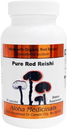 Aloha Medicinals Inc., Pure Red Reishi Capsules, 90 Capsules ,المكملات الغذائية، أدابتوغين، الفطر ريشي