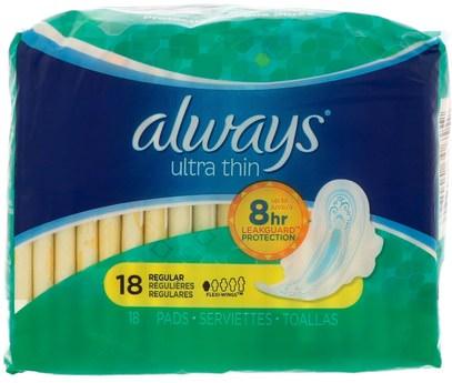Always, UltraThin with Wings, Regular, 18 Pads ,الصحة، المرأة