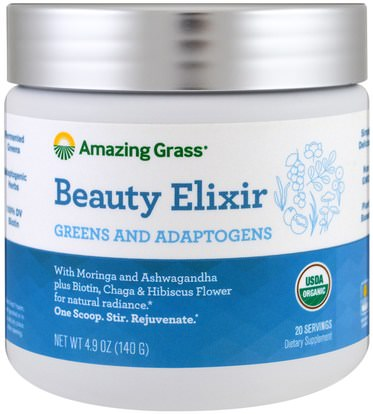 Amazing Grass, Beauty Elixir, Greens And Adaptogens, 4.9 oz (140 g) ,الجمال، المكملات الغذائية، سوبرفوودس