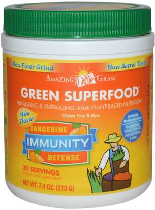 Amazing Grass, Green Superfood, Immunity, Tangerine, 7.4 oz (210 g) ,المكملات الغذائية، سوبرفوودس