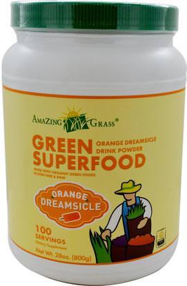 Amazing Grass, Green Superfood, Orange Dreamsicle Drink Powder, 28 oz (800 g) ,المكملات الغذائية، سوبرفوودس