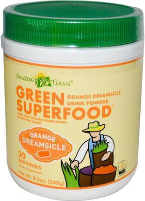 Amazing Grass, Green Superfood, Orange Dreamsicle Drink Powder, 8.5 oz (240 g) ,المكملات الغذائية، سوبرفوودس
