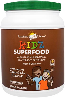 Amazing Grass, Kidz Superfood, Outrageous Chocolate Flavor, 21.1 oz (600 g) ,المكملات الغذائية، سوبرفوودس
