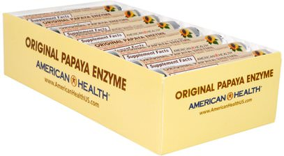American Health, Original Papaya Enzyme, Chewable Tablets, 16 Rolls, 12 Tablets Per Roll ,المكملات الغذائية، الانزيمات، البابايا غراء، الانزيمات الهاضمة