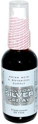 Amino Acid & Botanical Supply, Colloidal Silver Spray, 200 ppm, 2 fl oz (59.14 ml) ,والملاحق، والمعادن، والفضة الغروية
