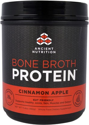 Ancient Nutrition, Bone Broth Protein, Cinnamon Apple, 17.4 oz (492 g) ,الصحة، العظام، هشاشة العظام، الصحة المشتركة، مرق العظام، المكملات الغذائية، البروتين