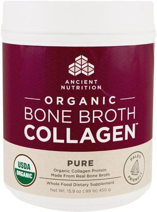 Ancient Nutrition, Organic Bone Broth Collagen, Pure, 15.9 oz (450 g) ,الصحة، العظام، هشاشة العظام، الصحة المشتركة، مرق العظام، المكملات الغذائية، البروتين
