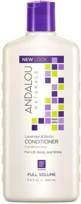 Andalou Naturals, Conditioner, Full Volume, For Lift, Body, and Shine, Lavender & Biotin, 11.5 fl oz (340 ml) ,حمام، الجمال، الشعر، فروة الرأس، الشامبو، مكيف، مكيفات