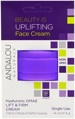 Andalou Naturals, Lift & Firm Cream, Hyaluronic DMAE, Single Use.14 oz (4 g) ,الصحة، بشرة، كريمات، ضوء، الجمال، هيالورونيك، حامض، إلتحم