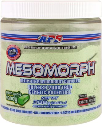 APS, Mesomorph, Ultimate Preworkout Complex. Green Apple Candy, 13.68 oz (388 g) ,والصحة، والطاقة، والرياضة