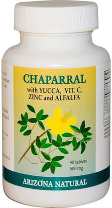 Arizona Natural, Chaparral, Yucca, Vit.C, Zinc & Alfalfa, 500 mg, 90 Tablets ,الأعشاب، تشابارال