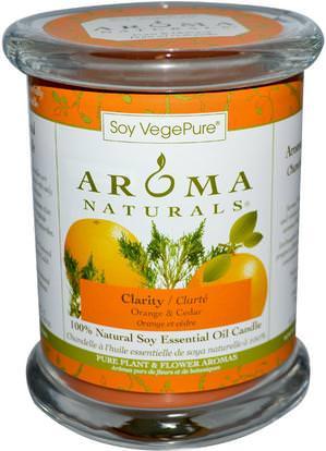 Aroma Naturals, Soy VegePure, 100% Natural Soy Essential Oil Candle, Clarity, Orange & Cedar, 8.8 oz (260 g) ,حمام، الجمال، الشمعات