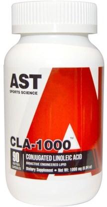 AST Sports Science, CLA-1000, 90 Softgel Capsules ,وفقدان الوزن، والنظام الغذائي، كلا (مترافق حمض اللينوليك)
