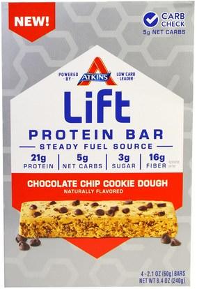 Atkins, Lift Protein Bar Chocolate Chip Cookie Dough, 4 Bars, 2.1 oz (60 g) Each ,والرياضة، والبروتين أشرطة