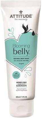 ATTITUDE, Blooming Belly, Natural Body Wash, Argan, 8 fl oz (240 ml) ,حمام، الجمال، حمام أرجان، هلام الاستحمام