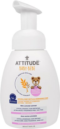 ATTITUDE, Sensitive Skin Care, Baby, Natural Baby Bottle & Dishwashing Foam, 9.9 fl oz (295 ml) ,المنزل، غسل الصحون، تغذية الطفل والتنظيف