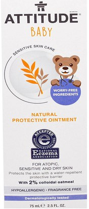 ATTITUDE, Sensitive Skin Care, Baby, Natural Protective Ointment, Fragrance Free, 2.5 fl oz (75 ml) ,صحة الأطفال، حفاضات، كريمات حفاضات، موقف العناية بالبشرة الحساسة