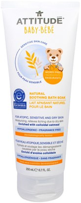 ATTITUDE, Sensitive Skin Care, Baby, Natural Soothing Bath Soak, Fragrance Free, 6.7 fl oz (200 ml) ,صحة الأطفال، حمام الاطفال، موقف العناية بالبشرة الحساسة