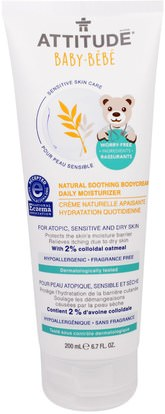ATTITUDE, Sensitive Skin Care, Baby, Natural Soothing Bodycream Daily Moisturizer, Fragrance Free, 6.7 fl oz (200 ml) ,والصحة، والجلد، موقف العناية بالبشرة الحساسة