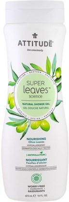 ATTITUDE, Super Leaves Science, Natural Shower Gel, Nourishing, Olive Leaves, 16 oz (473 ml) ,حمام، الجمال، هلام الاستحمام
