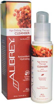 Aubrey Organics, Age-Defying Therapy Cleanser, All Skin Types, 3.4 fl oz (100 ml) ,الجمال، العناية بالوجه، المطهرات للوجه، الصحة، إلتحم