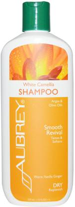 Aubrey Organics, White Camellia Shampoo, Smooth Revival, Dry Replenish, 11 fl oz (325 ml) ,حمام، الجمال، دقة بالغة، فروة الرأس، الشامبو
