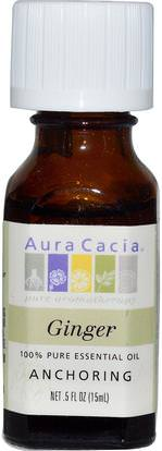 Aura Cacia, 100% Pure Essential Oil, Ginger.5 fl oz (15 ml) ,حمام، الجمال، الزيوت العطرية الزيوت، زيت الزنجبيل