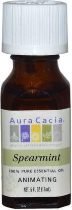 Aura Cacia, 100% Pure Essential Oil, Spearmint, Animating.5 oz (15 ml) ,حمام، الجمال، الروائح الزيوت العطرية، النفط النعناع