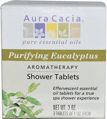 Aura Cacia, Aromatherapy Shower Tablets, Purifying Eucalyptus, 3 Tablets, 1 oz Each ,حمام، الجمال، أملاح الاستحمام